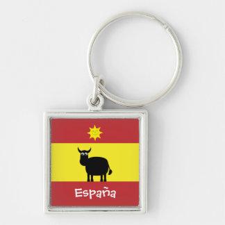 Niedliches Spanisch Stier, Sun u. Flagge Silberfarbener Quadratischer Schlüsselanhänger
