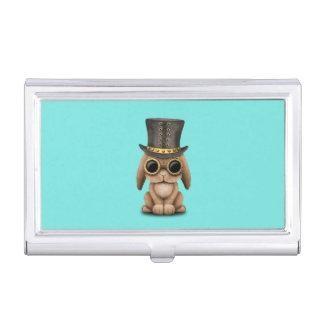 Niedliches Steampunk Baby-Häschen-Kaninchen Visitenkarten Etui