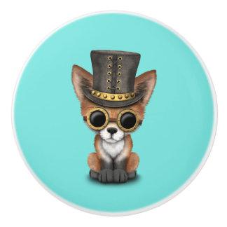 Niedliches Steampunk Babyroter Fox Keramikknauf