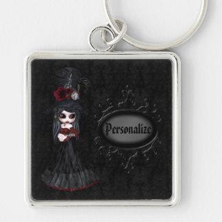 Niedliches Steampunk Goth Mädchen-personalisierte  Silberfarbener Quadratischer Schlüsselanhänger