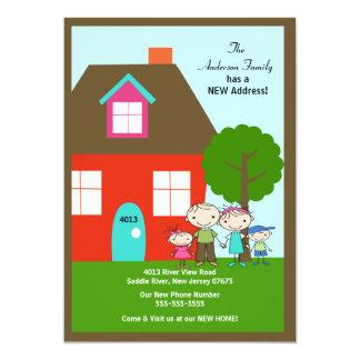 NIEDLICHES Strichmännchen-Familie ~ bewegliche 12,7 X 17,8 Cm Einladungskarte
