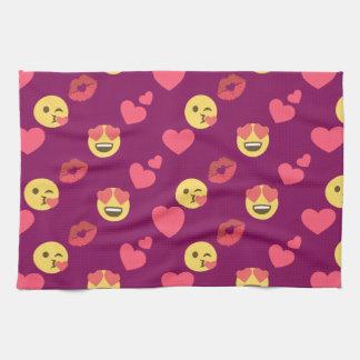 Niedliches süßes rosa Emoji Liebe-Herz-Kuss-Muster Geschirrtuch