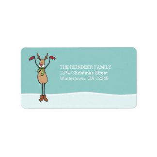 Niedliches Tanzen-Ren - Weihnachten Adressetikett