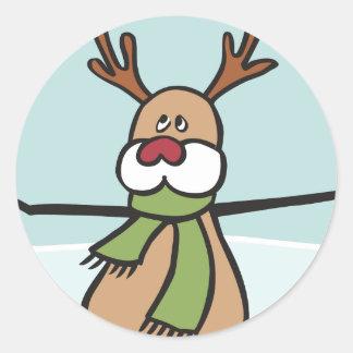Niedliches Tanzen-Ren - Weihnachten Runder Aufkleber