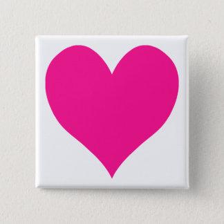 Niedliches tiefrosa Herz Quadratischer Button 5,1 Cm