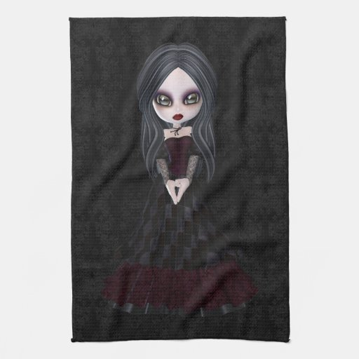 Niedliches u. Creepy Goth Mädchen-Schwarz-Küchen-T Handtücher