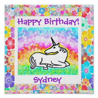Niedliches Unicorn-Geburtstags-Plakat Poster
