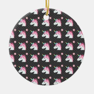 Niedliches Unicorns-Blume Emoji Polka-Punkt-Muster Keramik Ornament