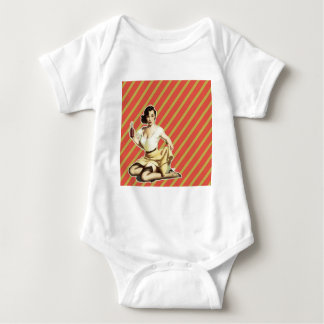 Niedliches Vintages Button des Retro Musters Baby Strampler
