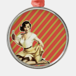 Niedliches Vintages Button des Retro Musters Silbernes Ornament