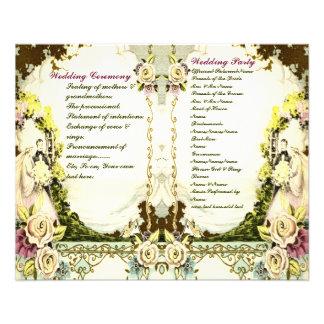 niedliches Vintages Hochzeitsprogramm 11,4 X 14,2 Cm Flyer