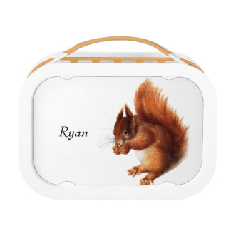 Niedliches Vintages rotes Eichhörnchen Brotdose