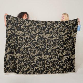 Niedliches Vintages schwarzes braunes Blumenmuster Fleecedecke