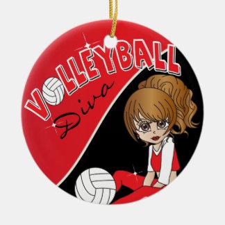 Niedliches Volleyball-Diva-Mädchen im Rot Keramik Ornament