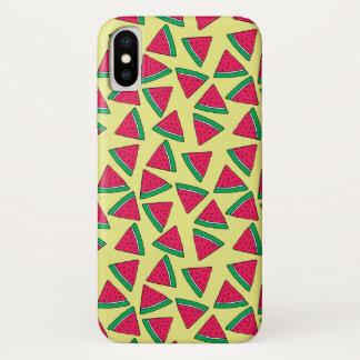 Niedliches Wassermelone-Scheibe-Cartoon-Muster iPhone X Hülle