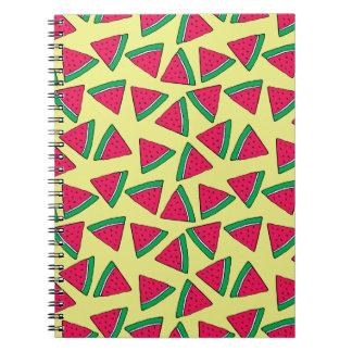Niedliches Wassermelone-Scheibe-Cartoon-Muster Spiral Notizblock