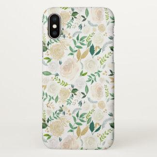 Niedliches Watercolor-Elfenbein-Goldblumenmuster iPhone X Hülle