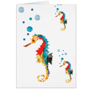 Niedliches Watercolor SEEpferdeSeepferd Ozean-Tier Karte