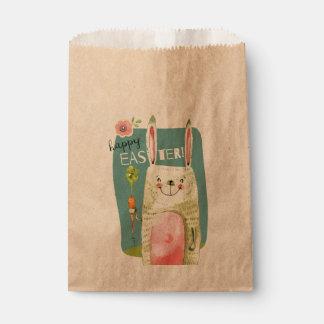 Niedliches Watercolorhäschen, das Karotte Geschenktütchen