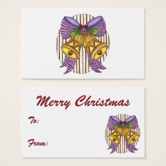 Niedliches Weihnachten Bell mit einem Band-Bogen Visitenkarte