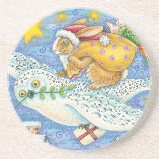 Niedliches Weihnachten mit Kaninchen als Untersetzer