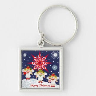Niedliches Weihnachtenkeychain mit Text, Engeln u. Silberfarbener Quadratischer Schlüsselanhänger