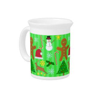 Niedliches Weihnachtscollagen-Feiertags-Muster Getränke Pitcher