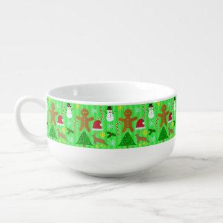 Niedliches Weihnachtscollagen-Feiertags-Muster Große Suppentasse