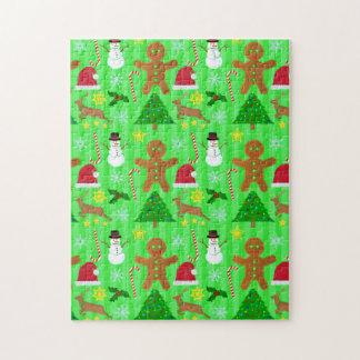 Niedliches Weihnachtscollagen-Feiertags-Muster Puzzle