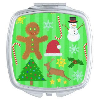 Niedliches Weihnachtscollagen-Feiertags-Muster Taschenspiegel