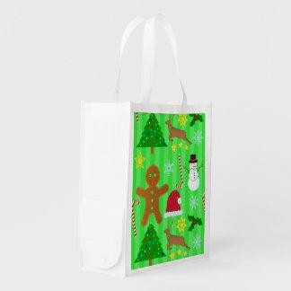 Niedliches Weihnachtscollagen-Feiertags-Muster Wiederverwendbare Einkaufstasche