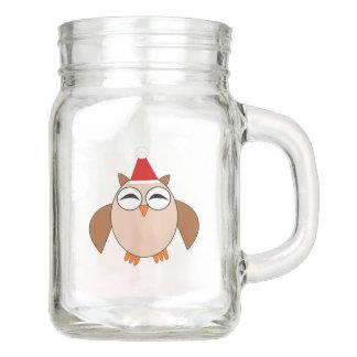 Niedliches Weihnachtseulen-Maurer-Glas Einmachglas