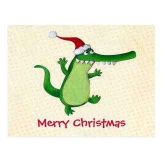 Niedliches Weihnachtskrokodil Postkarten