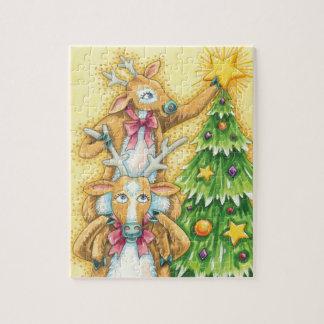 Niedliches Weihnachtsren mit Weihnachtsbaum-Stern Puzzle