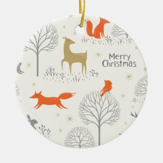 Niedliches Weihnachtswaldrotwildkaninchen - Rundes Keramik Ornament