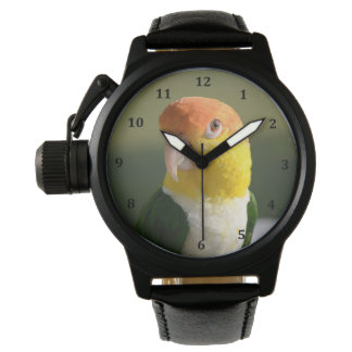 Niedliches Weiß aufgeblähter Caique-Papagei Armbanduhr