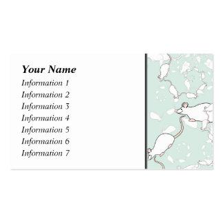 Niedliches weißes Mäusemuster Mäuse auf Grün Visitenkarten