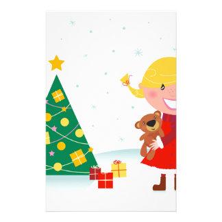 Niedliches wenig Weihnachtsmädchenrot Briefpapier