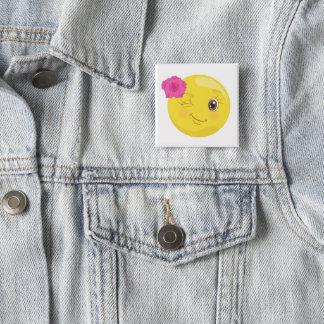 Niedliches Winky Mädchen Emoji (mit Blumen) Quadratischer Button 5,1 Cm