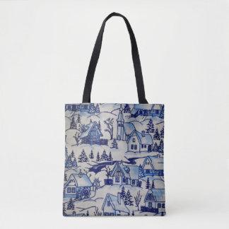 Niedliches Winter-WeihnachtsVintages blaues/weißes Tasche