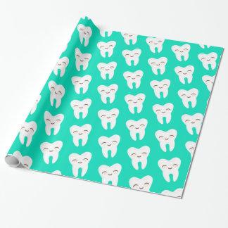 Niedliches Zahn-Muster auf aquamarinem Geschenkpapier