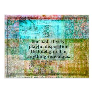 Niedliches Zitat Janes Austen vom Stolz und vom Postkarte