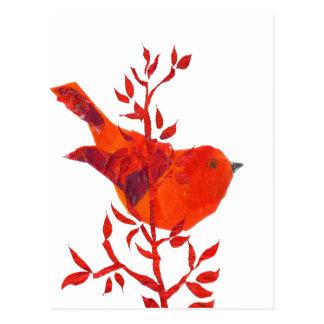 Niedlichster roter Vogel auf dem Planeten Postkarte