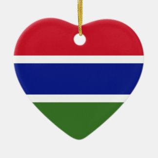 Niedrige Kosten! Gambia-Flagge Keramik Herz-Ornament