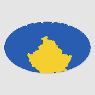 Niedrige Kosten! Kosovo-Flagge Ovaler Aufkleber