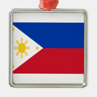 Niedrige Kosten! Philippinen-Flagge Quadratisches Silberfarbenes Ornament