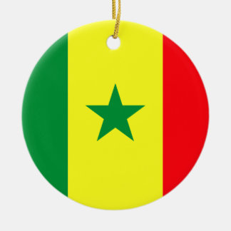 Niedrige Kosten! Senegal-Flagge Rundes Keramik Ornament