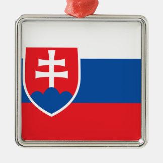 Niedrige Kosten! Slowakei-Flagge Quadratisches Silberfarbenes Ornament