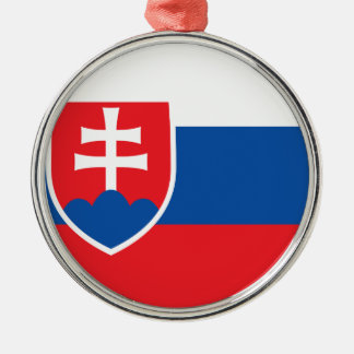Niedrige Kosten! Slowakei-Flagge Rundes Silberfarbenes Ornament