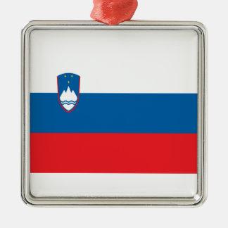 Niedrige Kosten! Slowenien-Flagge Silbernes Ornament